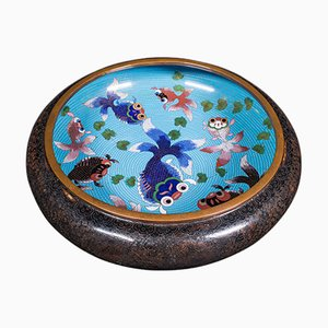 Large Antique Chinese Cloisonne Fish Bowl in Ceramic, 1900s