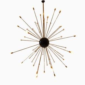 Big Vintage Sputnik Crystal and Brass Ceiling Lamp in Gold