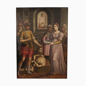Peinture Religieuse Antique, Salomè avec la Tête de Baptiste, 17ème Siècle