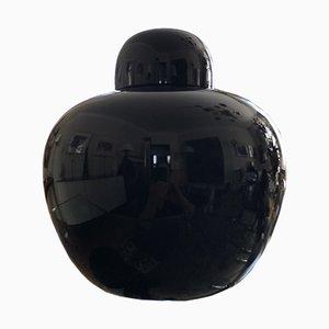 Vase Cinese en Verre de Murano Noir par Carlo Scarpa pour Venini, 1979