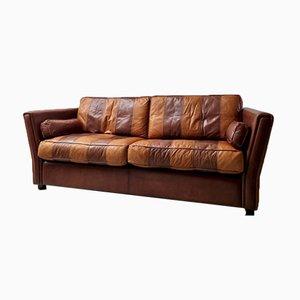 Vintage Striped Leather Sofa