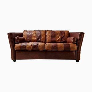 Vintage Striped Cognac Leather Sofa