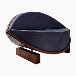 Blue Leather Keflavik Sofa by Sigurdur Gustafsson for Källemo AB, 2000s