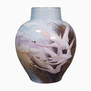 Vase à Fleurs Décoratif Vintage Peint à la Main en Céramique par James Skerrett, Angleterre