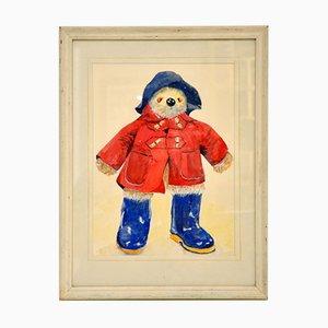 Vintage Paddington Bear Watercolor Painting