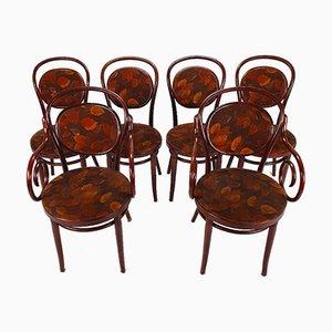 Chaises de Salle à Manger en Bois Courbé Couleur Merisier, 1970s, Set de 6