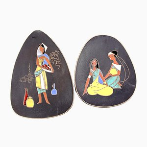 Ceramic Wall Plates from Ruscha, 1950s, Set of 2