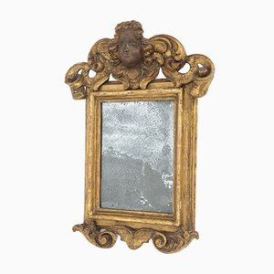 Antique Italian Wall Mirror in Painted Golden Wood