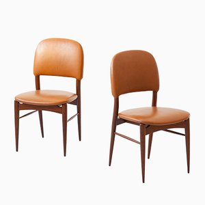 Italian Teak and Cognac Leather Side Chairs, 1950s, Set of 2