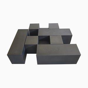 Tables Modulables Gli Scacchi en Polyuréthane Déployé Noir par Mario Bellini pour C&B Italia, 1971, Set de 5