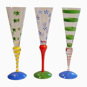 Verres à Champagne Clown par Anne Nilsson pour Orrefors, Suède, 1970s, Set de 3