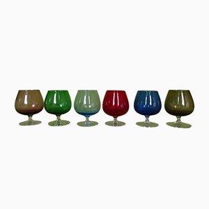 Farbige Cognacfarbene Gläser aus Murano Glas, 6er Set