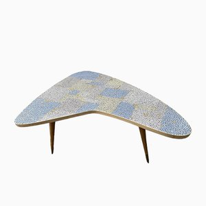 Mosaic Kidney Coffee Table with Brass by Berthold Müller-Oerlinghausen, 1950s