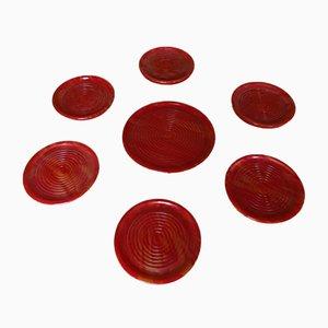 Sottobicchieri Art Déco in bachelite rossa e gialla, set di 7