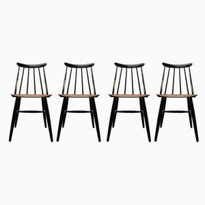 Mid-Century Teak Fanett Chairs by Ilmari Tapiovaara for Asko, Set of 4