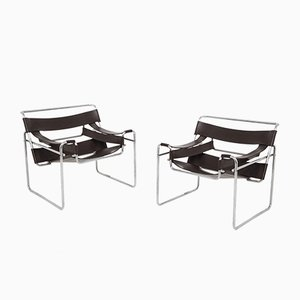 Wassily Model B3 Lounge Chairs by Marcel Breuer for Gavina, 1970s, Set of 2