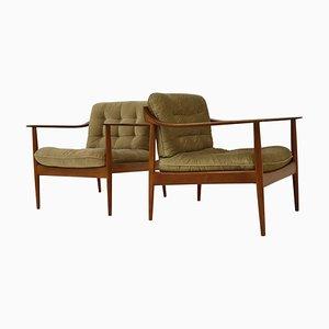 Teak Antimott Model 550 Lounge Chairs from Knoll, Set of 2