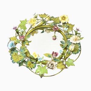 Hollywood Regency Spiegel mit Rahmen in Blumen-Optik, 1960er