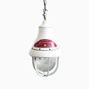 Lámpara colgante estadounidense industrial vintage de aluminio fundido blanco, años 50