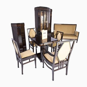 Art Nouveau Drawing Room Furniture Set by Ludwig Alter, 1908, Set of 8