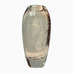 Glass Fish Vase by Gerda Strömberg for Strömbergshyttan, 1940s
