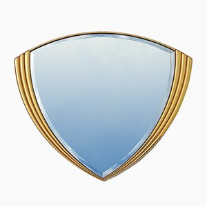 Specchio da parete triangolare vintage in cristallo e oro, anni '80