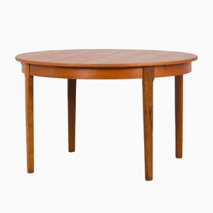 Mid-Century Danish Round Extendable Teak Table with Hidden Leaves, 1960s