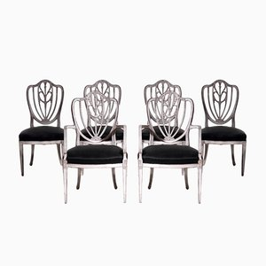 Gustavian Style Chairs Including Two Armchairs with Carvings, Late 19th Century, Set of 6