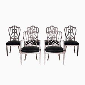 Sedie in stile gustaviano con due poltrone intagliate, fine XIX secolo, set di 6