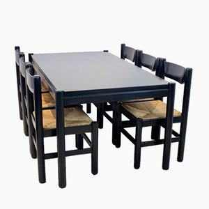 Dining Table with 6 Chairs in the Style of Vico Magistretti, Set of 7
