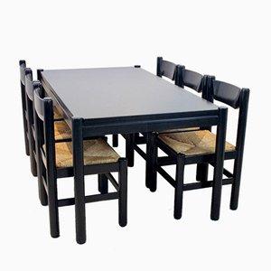 Table de Salle à Manger avec 6 Chaises Style Vico Magistretti, Set de 7