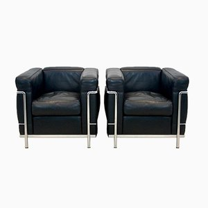 LC2 Armchairs in Black leather by Le Corbusier, Pierre Jeanneret & Charlotte Perriand for Cassina
