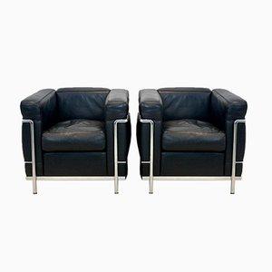 LC2 Armlehnstühle aus schwarzem Leder von Le Corbusier, Pierre Jeanneret & Charlotte Perriand für Cassina