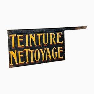 Enseigne Teinture Nettoyage Antique Peinte à la Main, France