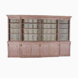 Libreria Breakfront in legno di quercia sbiancato