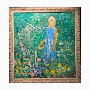 Gleb Savinov, Little Girl in the Garden Flowers, 1990