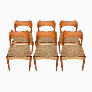 Chaises de Salle à Manger Mid-Century en Teck par Arne Hovmand Olsen, Danemark, 1960s, Set de 6