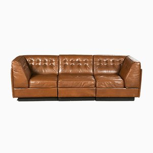 Modulares dänisches Vintage 3-Sitzer Sofa aus cognacfarbenem Leder, 1970er