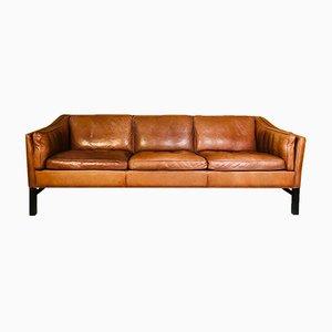 Dänisches Vintage 3-Sitzer Sofa aus cognacfarbenem Leder von Grant Mobelfabrik