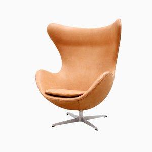 Egg Chair aus Cognacfarbenem Leder von Arne Jacobsen für Fritz Hansen, 1966