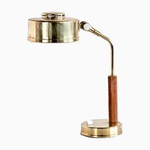 Schreibtischlampe aus Messing & Teak von Bröderna Johansson Skellefteå, Schweden, 1950er