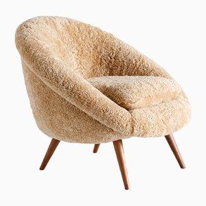 Lounge Chair in Sheepskin and Beech by Gustav Bergmann, Germany, 1960