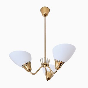 3-Arm Chandelier in Brass Attributed to Hans Bergström from Asea, Sweden, 1950s