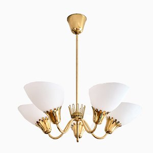 5-Arm Chandelier in Brass Attributed to Hans Bergström from Asea, Sweden, 1950s