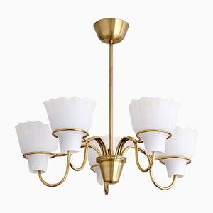 5-Arm Chandelier in Brass and Opal Glass by Hans Bergström for Asea, Sweden, 1950s