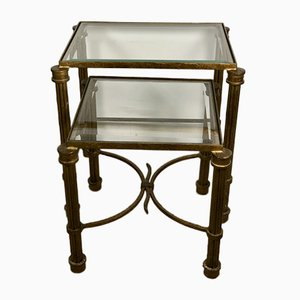 Vintage Nesting Tables in Gilded Wrought Iron with Beveled Glass Top