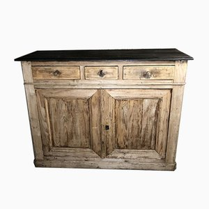 Pitch Pine Buffet or Storage Cabinet with Waxed & Blackened Wood Top, 19th Century