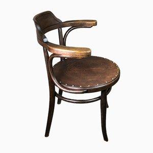 Silla de madera curvada con asiento en relieve de Thonet, años 20