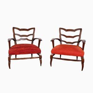 20th Century Orange Armchairs, Italy, 1940s, Set of 2