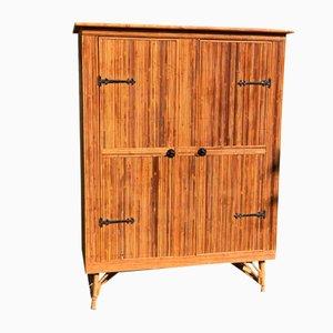 Armoire en Bambou Fendu Style Audoux & Minet, 1960s